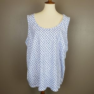 Woman Within White w Blue Stars Tank Top 3X 30/32